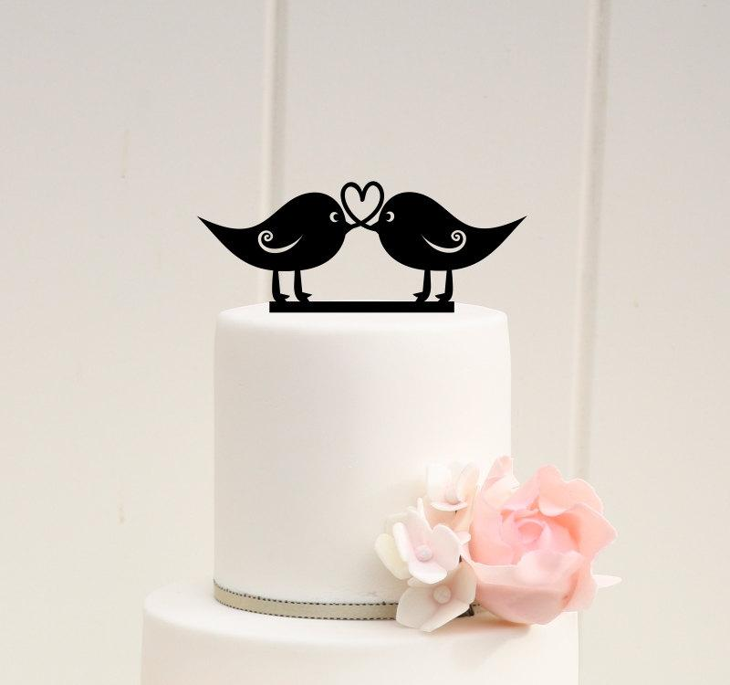 Düğün - Love Birds Wedding Cake Topper Heart Design Rustic Cake Topper