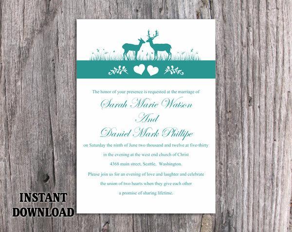 Nozze - Wedding Invitation Template Download Printable Wedding Invitation Editable Reindeer Invitation Teal Wedding Invitations Blue Invitations DIY - $6.90 USD