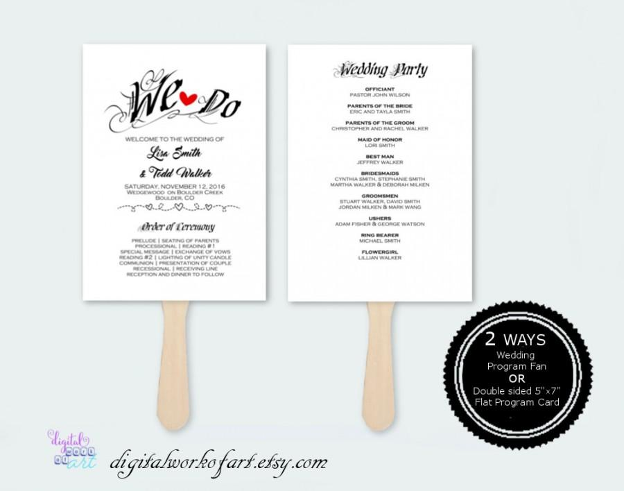 Boda - Rustic Wedding Program Template, DIY Wedding Program Fan Printable, Editable PDF Instant Download, Ceremony Printable Template, We Do 211-1