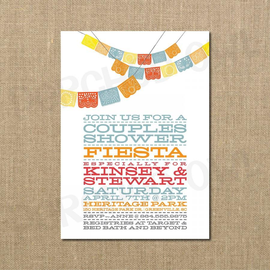 Mariage - Couples Wedding Shower Fiesta Invitation - Digital File