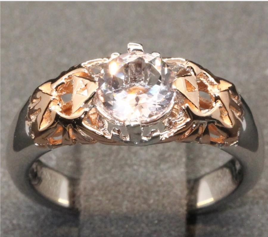 Wedding - 14k Rose Gold and Natural Morganite Legend of Zelda Triforce Hryrule Crest Engagement Wedding Ring Nintendo Ocarina of Time Video Game