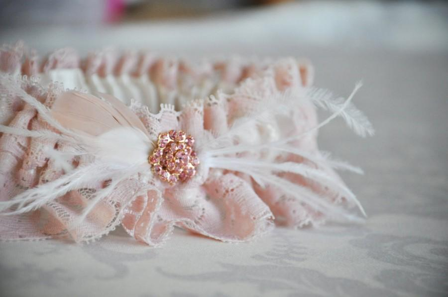 Boda - Blush Pink Garter, Pink Garter, Pink Lace Garter w/ ostrich feathers, goose feathers &  gorgeous gold encased pink rhinestone button - 111G