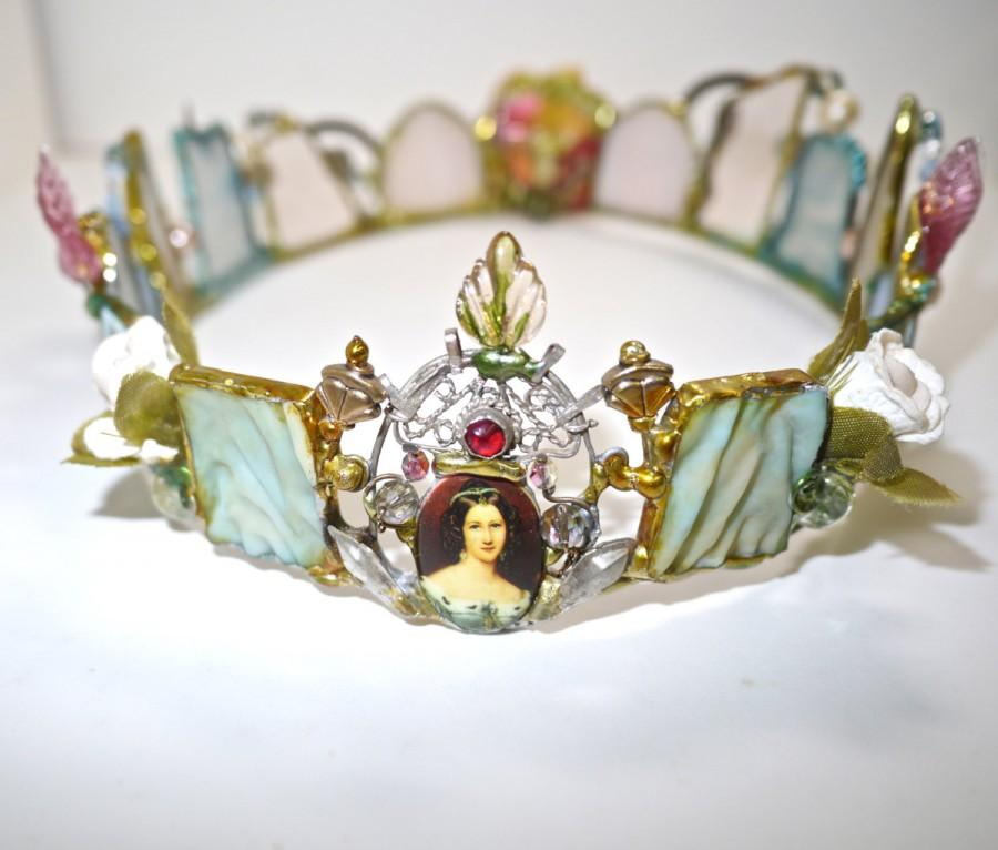 Mariage - Faerie  Crown - Lady and Her Choice - One of a Kind - Boho Wedding- Art Glass Crown -French Inspired -