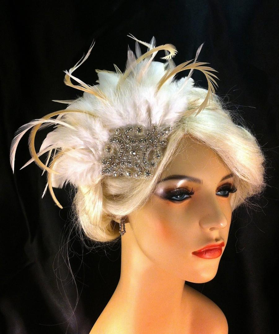 Wedding - Great Gatsby, Downton Abbey, 1920s Flapper Headpiece, Gatsby Headpiece, Feather Fascinator, Rhinestone Silver Beaded Art Deco