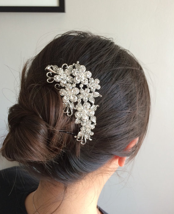 Mariage - bridal comb, wedding hair comb, wedding comb, bridal hair comb, wedding hair accessories, flower comb, crystal comb, bridal jewelry