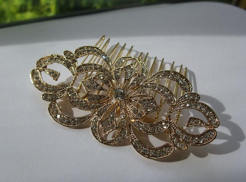 Wedding - Golden Edwardian hair comb filigree wedding rhinestone hair comb Vintage inspired vintage Downton Abbey 1920s bridal hair