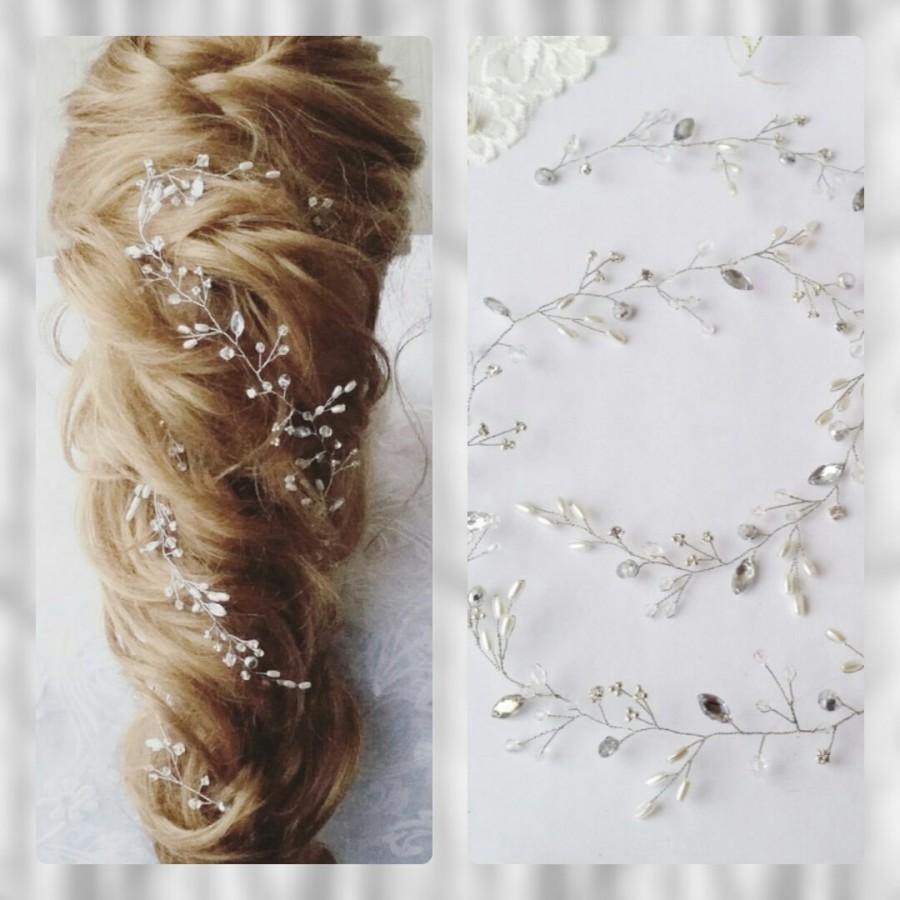 Boda - Long hair vine,Bridal hair vine,Crystals Bridal Wedding, Headband,Bridal Hair Vine,Wedding hair-vine,pearl hair vine 53