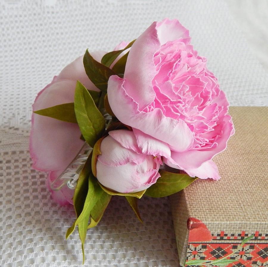 Flower Hair Claw Floral Barrette Big Pink Peonies Bridal Hair