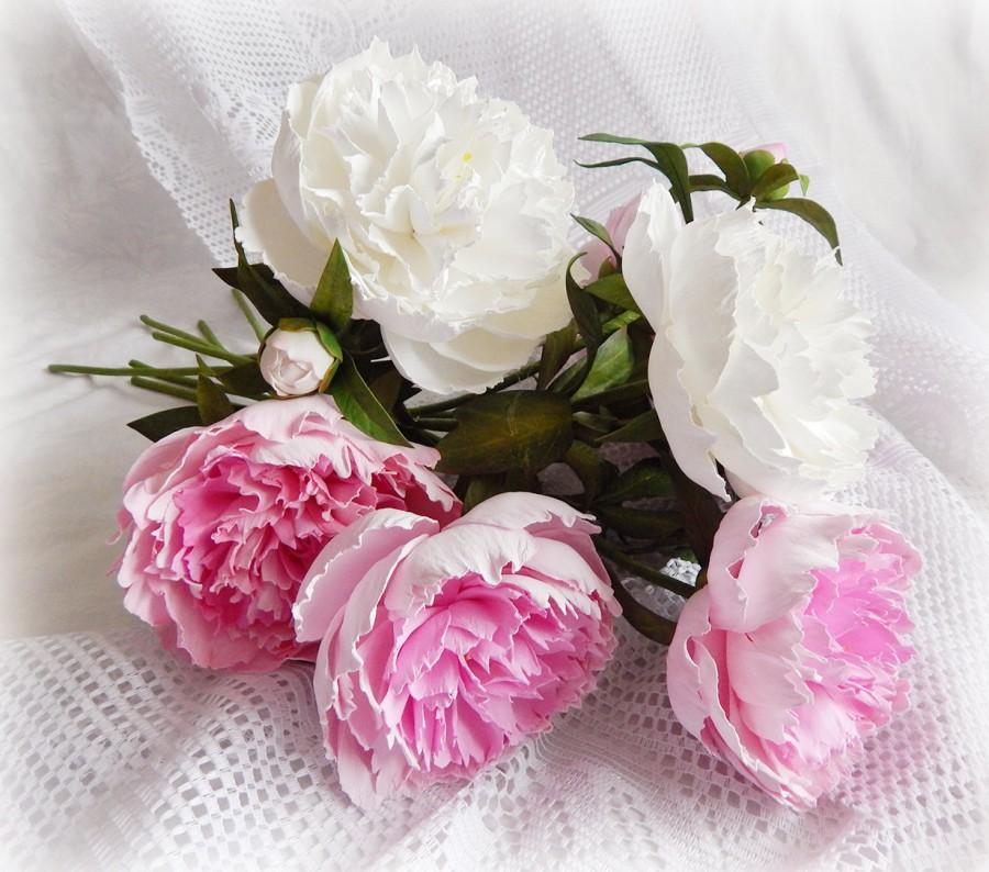 Pink white peonies floral decor flowers in vase artificial pink white peonies floral decor flowers in vase artificial bouquet realistic peony pink white flowers wedding decor table centerpiece 12000 usd mightylinksfo