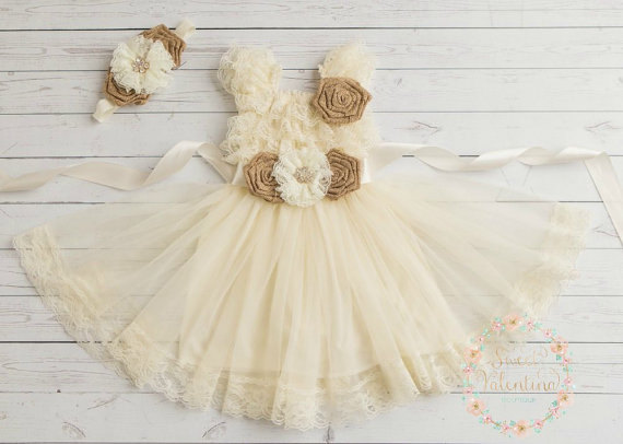 Wedding - lace flower girl dress, rustic flower dress,lace girls dress, country flower girl dress, burlap flower girl dress,Ivory flower girl dress