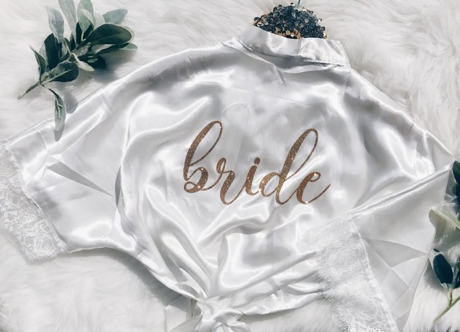 Wedding - Lace bride Robe. Bride gift. Lace Bridal party robes. Bridesmaid gift. Bridal party gifts.Wedding robe. Bridal shower gift. Bridesmaid robe.