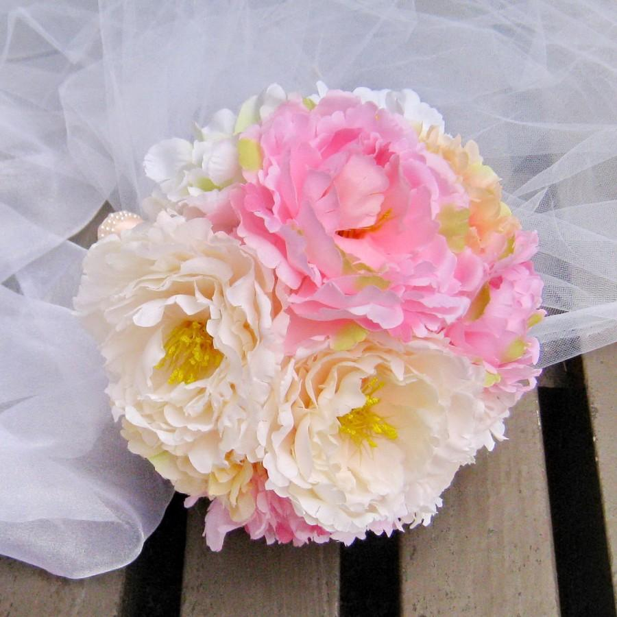 Boda - Peonies Bridal Bouquet Bridesmaid Bouquets Flower bouquet Peony Wedding bouquet, toss bouquet (B007)