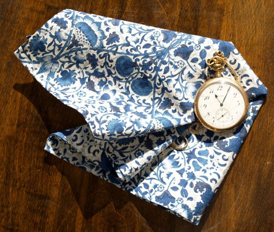 "Wedding - Handstitched Liberty of London Blue & White William Morris ""Lodden"" Print  Cotton Pocket Square/Handkerchief"
