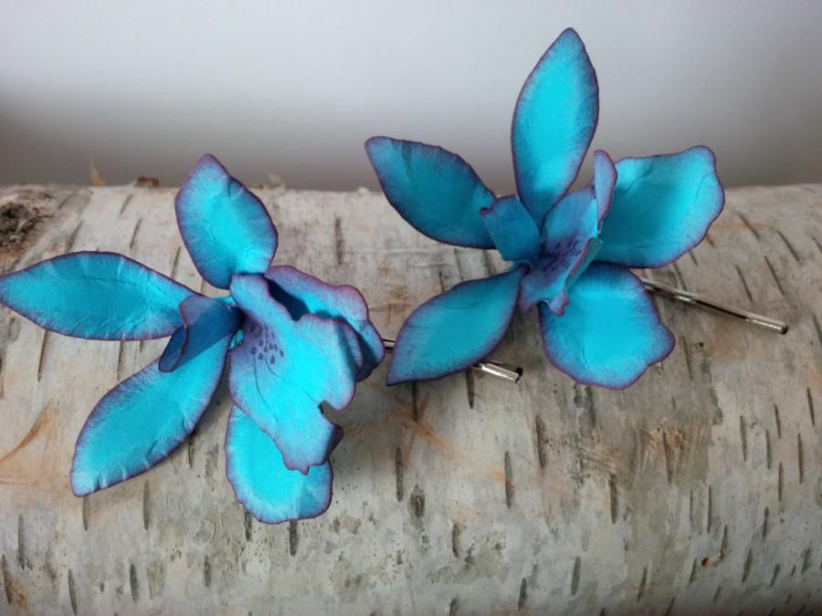 Düğün - Blue orchid, paper orchid hairpins, wedding hair, something blue, bridal hair accessories, unique hair pins, prom hairpiece, paper flowers