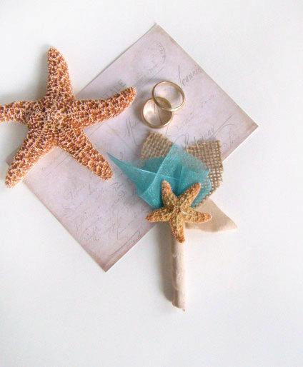 Hochzeit - Starfish Boutonniere, Beach Wedding, Grooms Flower, Buttonhole, Lapel Pin, Groomsmen, Destination Wedding Custom Color, Blue, Aqua, Teal,