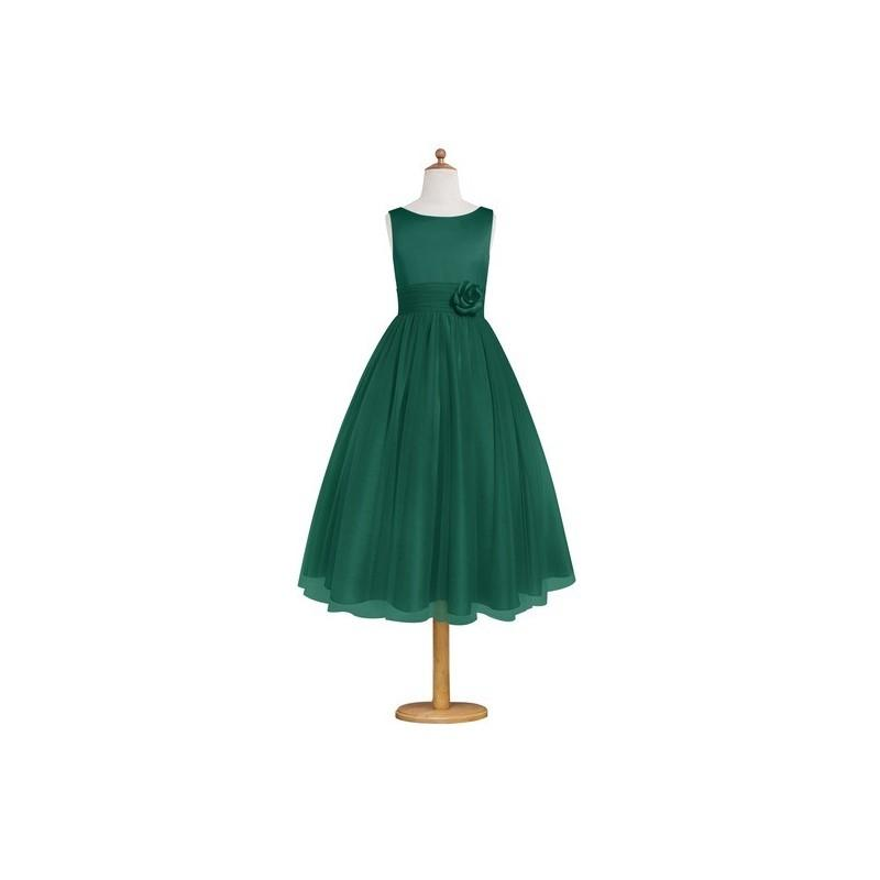 Mariage - Dark_green Azazie Rudy JBD - Tea Length Satin And Tulle Back Zip Boatneck Dress - Charming Bridesmaids Store