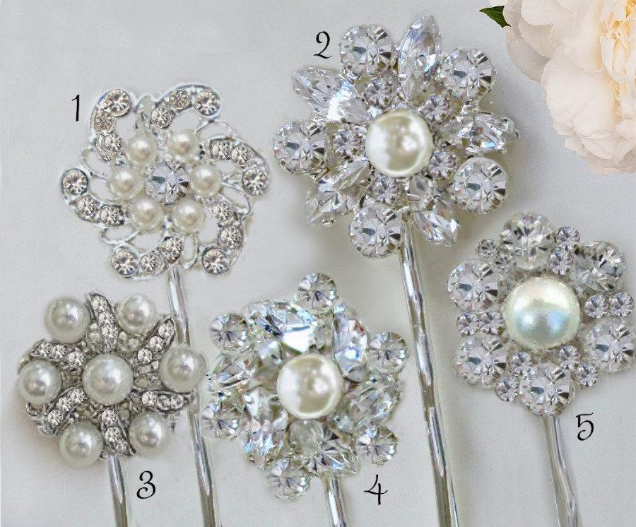 Hochzeit - Your Choice, Wedding Hair Pins, Bridal Bobby Pin, Crystal Hair Clips, Pearl Hair Pin set, Silver Hair Accessory, Bridesmaids gifts