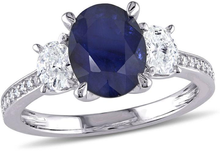 Wedding - MODERN BRIDE Womens 5/8 CT. T.W. Blue Sapphire 14K Gold Engagement Ring