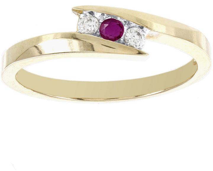 Wedding - MODERN BRIDE Lumastar Lead Glass-Filled Ruby and Diamond-Accent Promise Ring Yellow Gold Promise Ring