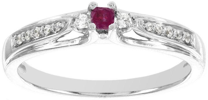 Wedding - MODERN BRIDE Lumastar Lead Glass-Filled Ruby and Diamond-Accent Promise Ring