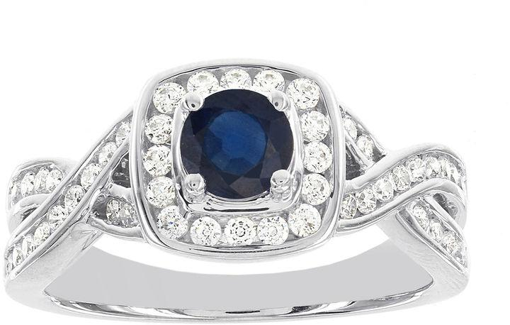 Wedding - MODERN BRIDE Blooming Bridal 1/2 CT. T.W. Diamond and Genuine Blue Sapphire Bridal Ring