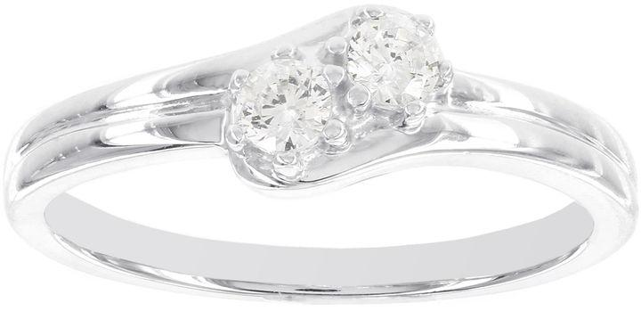 Wedding - MODERN BRIDE 1/5 CT. T.W. Diamond Two-Stone 14K White Gold Promise Ring