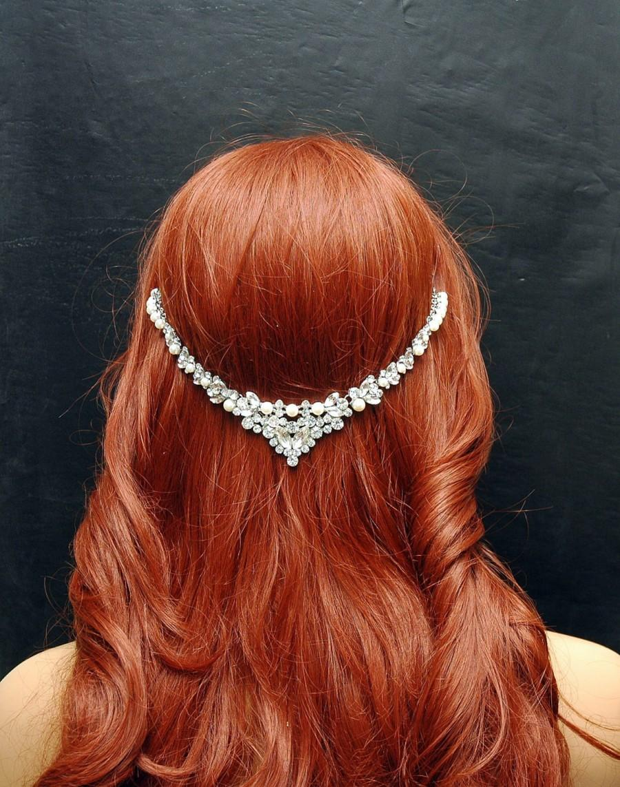 Wedding - Wedding Pearl Headpiece, Beach Wedding Headband, Wedding Hair Accessories, Bohemian Hair Jewelry, Pearl Headpiece, Prom, Bridal Hair Jewelry - $55.00 USD