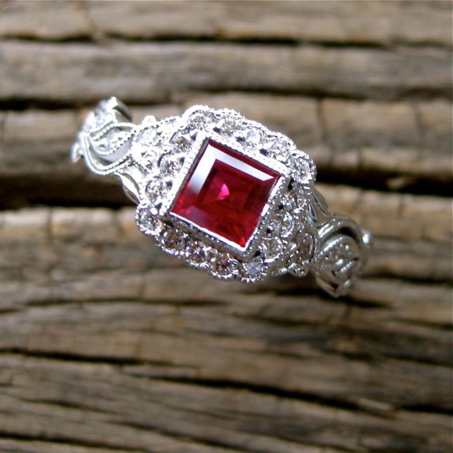 Wedding - Red Ruby Engagement Ring in 18K White Gold with Diamonds in Flower Blossoms and Leafs on Vine Floral Motif Size 7