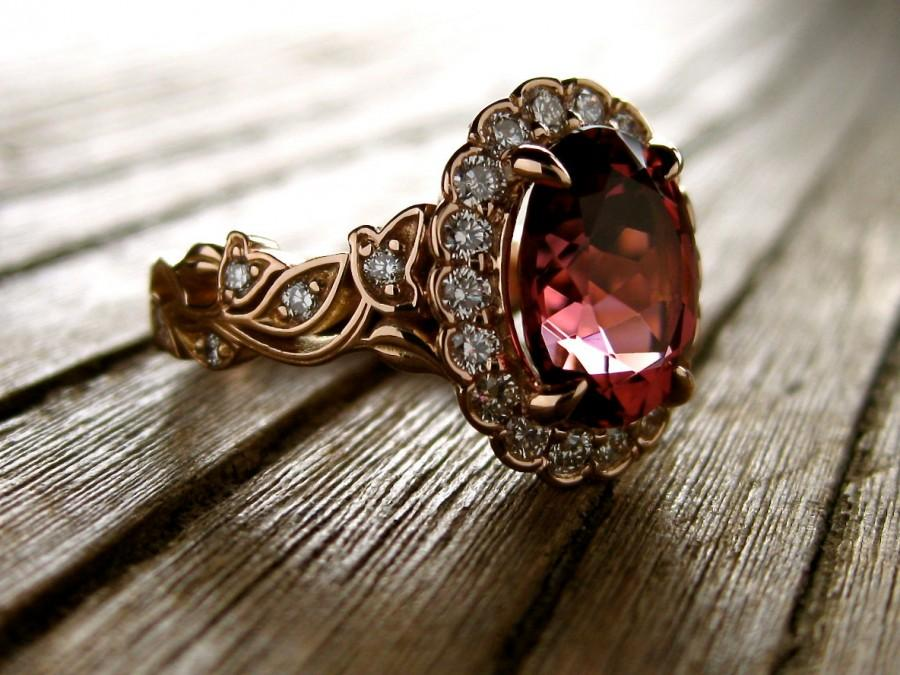 Wedding - Marsala Red Tourmaline Engagement Ring in 18K Rose Gold with Diamonds in Flower Blossoms and Leafs on Vine Size 5