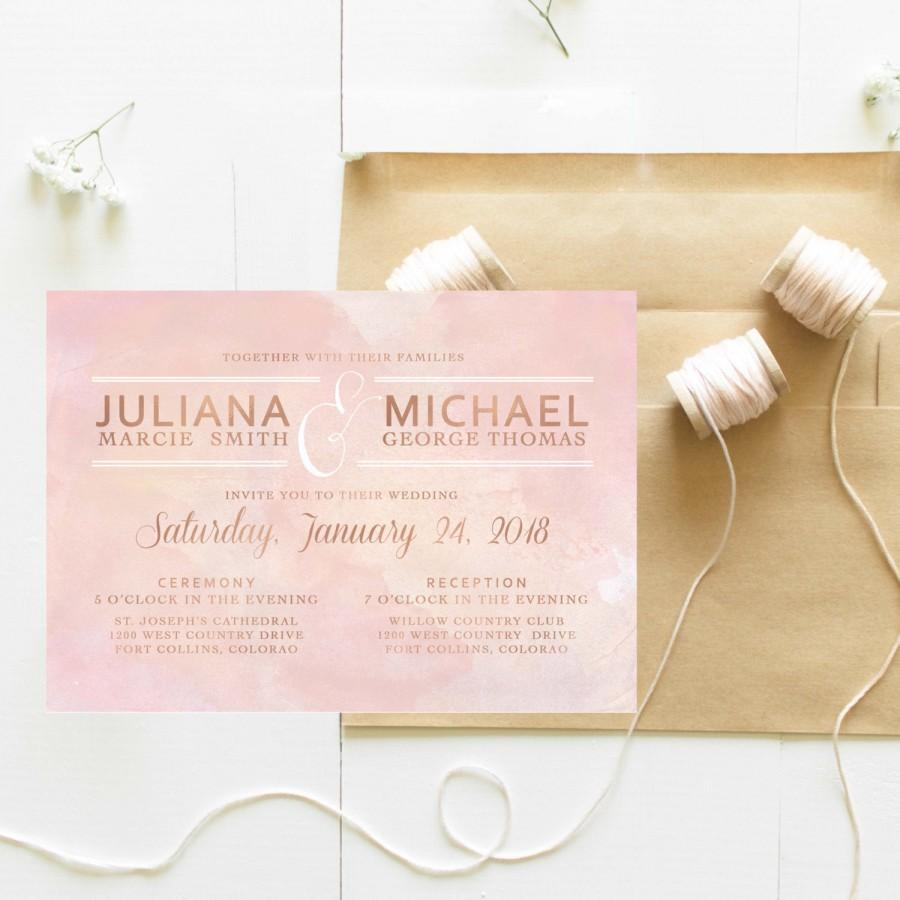 Boda - Blush Pink Wedding Invitation