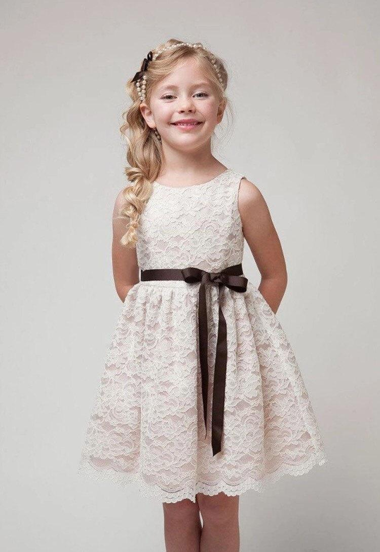 Boda - Lace Flower Girl Dress with Ribbon (2T-12)