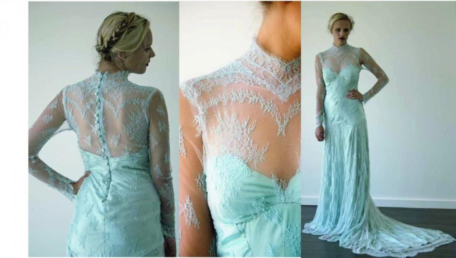 Wedding - Boho style pastel lace wedding dress made to order