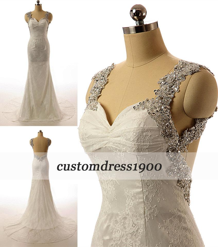 Boda - Vintage Cap Sleeve White/Ivory Sexy Open Back Sweep Train-Lace Wedding Dress