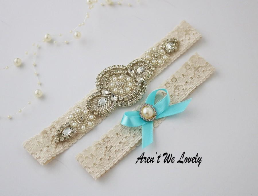 Mariage - keepsake garter/light blue garter set/light blue garter belt/something blue/Rhinestone garter/Lace garter/bridal gift/garters