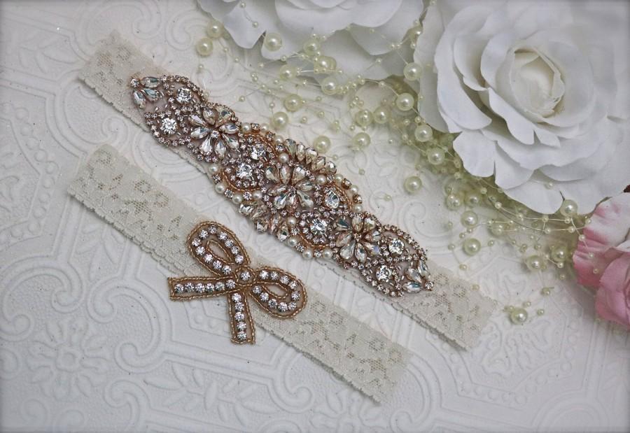 Boda - rose gold garter/rose gold bridal garter/Bridal garter set/Rhinestone garter/Lace garter/gold garter/rose gold and ivory garter set/bridal