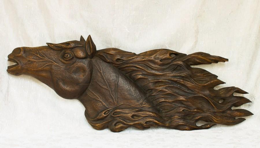 Wedding - Wooden Animal, Wood carving , wood art , wall decor, fine art, wood wall art horse