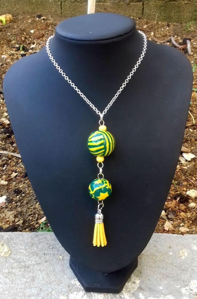 Wedding - Unique gift for woman, polymer clay necklace, leather tassel necklace, yellow green necklace, one of a kind, perfect gift, anniversary gift