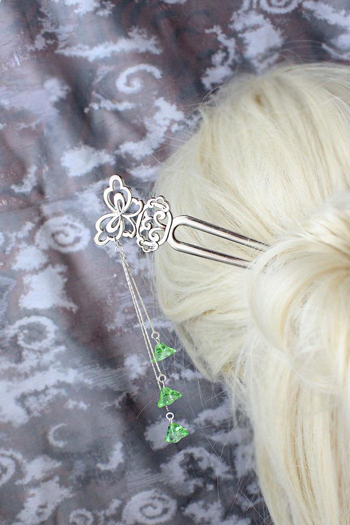 Wedding - green hair jewelry silver butterfly hair pick spring wedding hair accessory green bridesmaid hair stick wife gift bridal hair jewelry h17