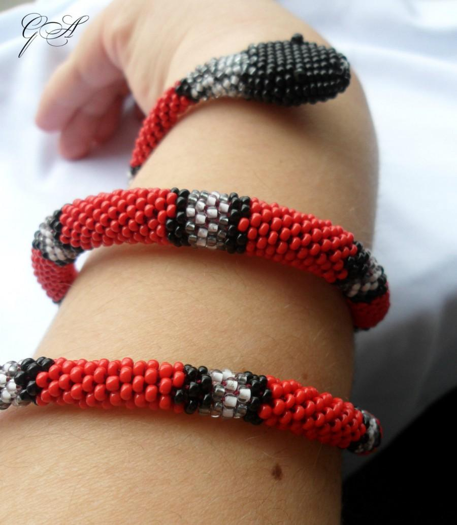 Wedding - Jewelry Bracelets Beaded Bracelets Red snake Snake bracelet Beaded jewelry Coral color Coral snake Crochet  bracelet Red bracelet