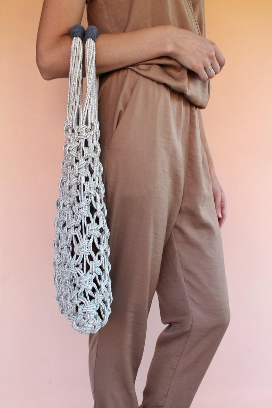 Wedding - Macrame Tote Bag - Shopper Bag - Natural Linen and Cotton Bag - Eco Friendly bag - Vegan bag - Summer Bag - Beige and Grey Color