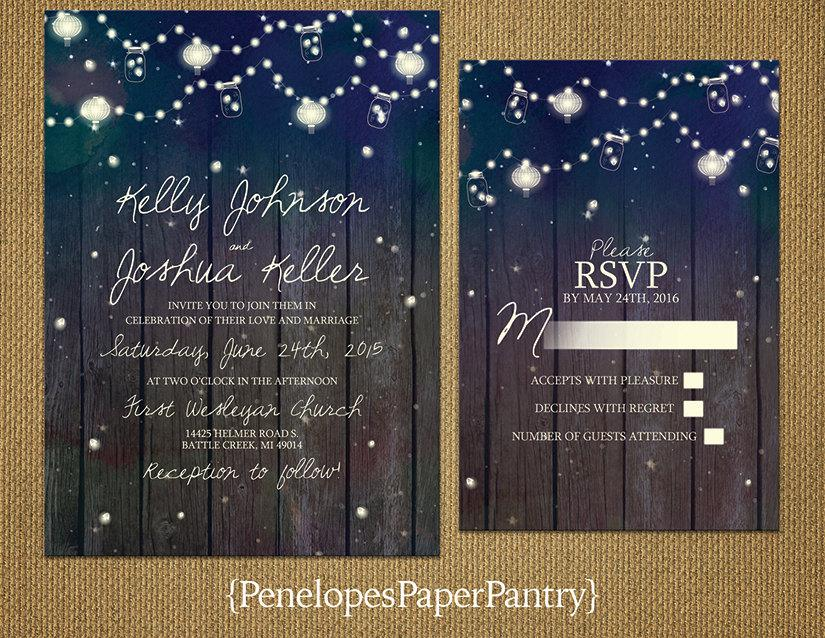 Düğün - Elegant Rustic Summer Wedding Invitation,Starry Sky,Strings of Lights,Glowing Lanterns,Fire Flies,Opt RSVP Card,Customizable With Envelopes