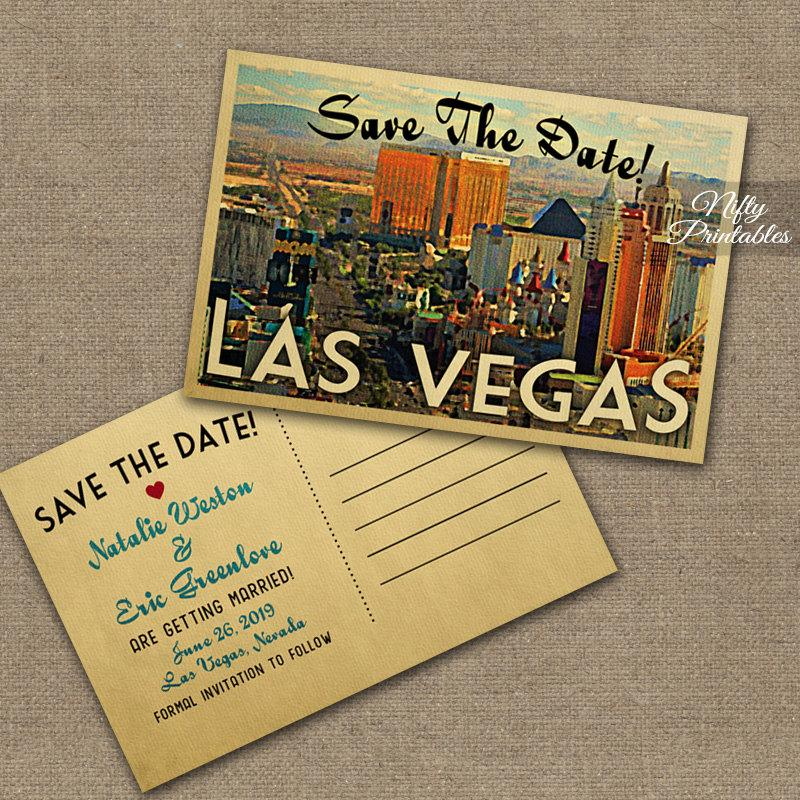 Hochzeit - Las Vegas Save The Date Postcards - Vintage Travel Vegas Save The Date Postcards - Printable Retro Destination Wedding Save The Dates VTW