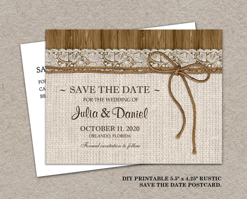 Mariage - Printable Rustic Wedding Save The Date Postcard, Burlap Wedding Save The Date Postcard, Burlap And Lace Wedding Save The Date Postcard