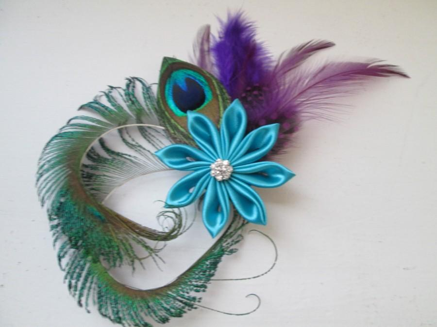 Hochzeit - Teal & Purple Wedding Peacock Fascinator, Purple Feathers, Aqua- Turquoise- Blue Flower Bridal Head Piece, Birdcage Veil, Kentucky Derby