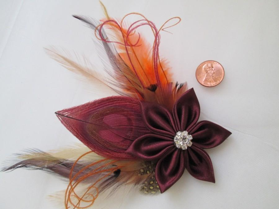 Boda - Cranberry Wedding Hair Piece, READY TO SHIP- Wine Red Peacock Feather Fascinator, Marsala Bridal Head Piece, Maroon Birdcage Veil
