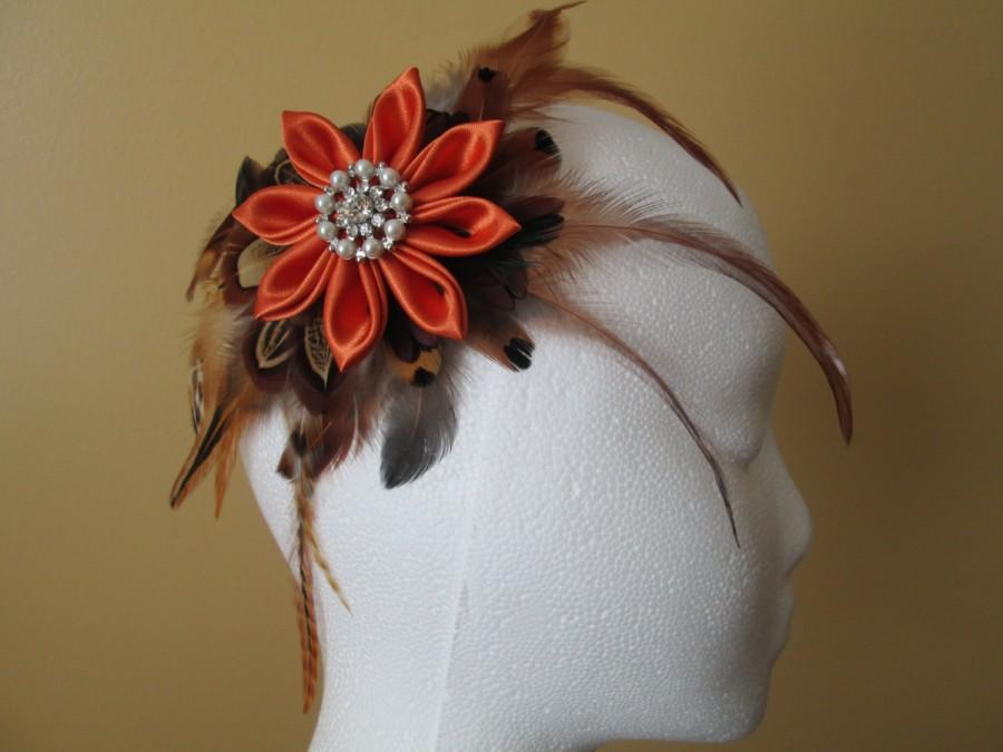 Wedding - Fall Autumn Wedding Fascinator, Pheasant Feather Bridal Hair Flower Clip, Pumpkin / Burnt Orange Kanzashi Head Piece, Barnyard Wedding
