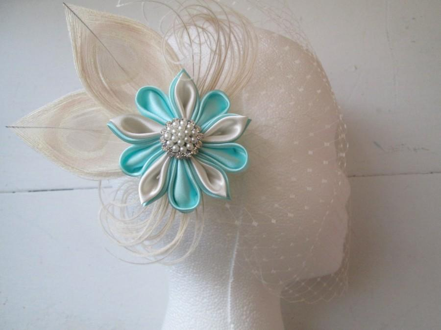 Düğün - Peacock Wedding Fascinator, READY TO SHIP, Teal & Ivory Kanzashi Bridal Hair Flower, Aqua Champagne Hair Clip, Vintage Bride, Something Blue