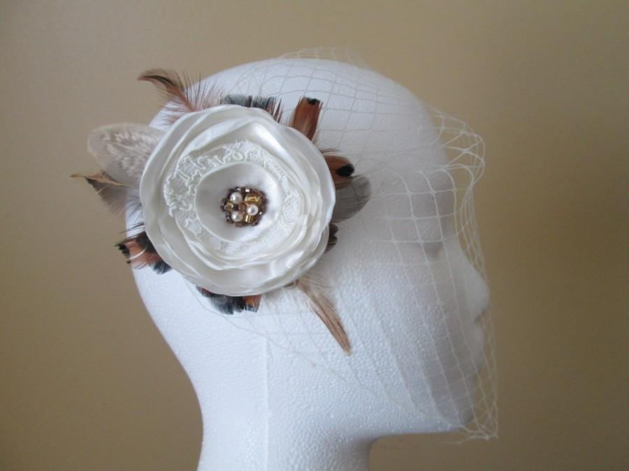 Hochzeit - Rustic Bridal Hair Flower, Ivory Rose Wedding Fascinator, Pheasant Feather Hair Piece, Head Piece, Woodland / Country / Barnyard Wedding