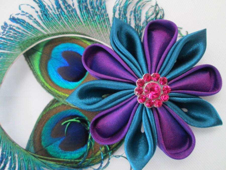 Mariage - PEACOCK WEDDING Hair Clip, Purple & Teal Peacock Fascinator, Kanzashi  Hair Piece, Birdcage Veil, Prom or Homecoming Hair Clip
