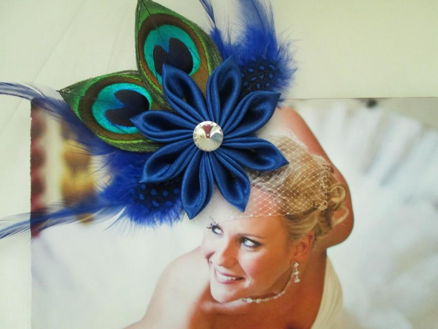 Düğün - Royal Blue Wedding Hair Clip, Peacock Bride's Hair Fascinator, Royal Blue Kanzashi Head Piece, Something Blue. Homecoming or Prom Hair Clip